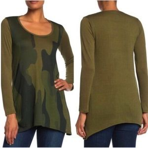NWOT Go Couture Green Camo Long Sleeve Tee M